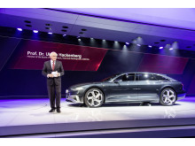 Prof. Dr.-Ing. Ulrich Hackenberg (Member of the Board of Management of AUDI AG for Technical Development); next to the Audi prologue Avant on the Geneva Motorshow 2015