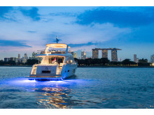 High res image - Princess Motor Yacht Sales - Princess 75 exterior nightime
