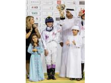 Stina Landh efter segern i Abu Dhabi