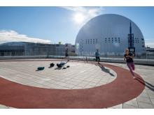 3Huset, en löparbana på 98 m + utomhusgym