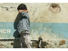 Ett barn i Morialägret på Lesbos. Foto: Faris Al-Jawad/Läkare Utan Gränser