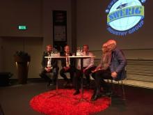 Jonas Karlsson, vd, Oslo-Stockholm 2.55 AB, Lennart Kalander, Trafikverket, moderator Ulf Nyström, Karin Svensson-Smith (MP), ordförande i Riksdagens Trafikutskott, och HG Wessberg, Sverigeförhandlingen