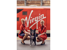 Picture Paw-fect! All change as Jake the trainspotting dog joins Virgin Trains staff to model new uniform