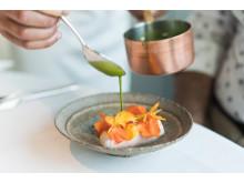 Eine Kreation des Maaemo, Norwegens Drei-Sterne-Restaurant in Oslo