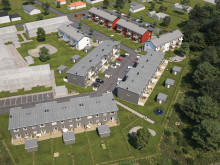 Översiktsillustration av det nya området med både radhus, BoKlok Solsidan, och lägenheter,  BoKlok Växtriket.
