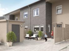 3D-illustration på entrésidan av husen i BoKlok Granen