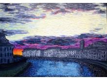 Pisa at sunset.