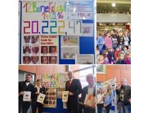 Fotocollage: Spendenübergabe am Strittmatter Gymnasium für den Verein ÄRZTE HELFEN