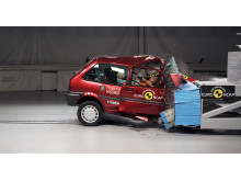 Euro NCAP 20th – the 1997 Rover 100 during a 40mph frontal offset crash test in the Thatcham Research Crash Lab