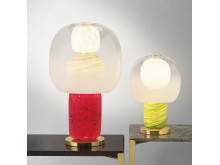 Fusa table lamps red and green, group picture