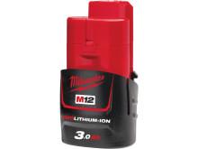 Milwaukee M12 3.0 og 6.0 Ah batterier