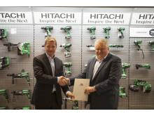 Adm direktør i Hitachi Power Tools, Thomas M. Kristensen (t.v) og Innkjøpssjef i Block Watne, Åge Willy Bergerseter