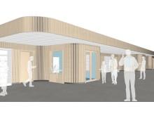 Den sammanhållande inre väggen med träpanel. Illustration: ElinderSten