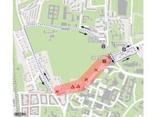 Universitetssjukhuset, temporär resväg för busslinje 126, 137, 139 och 165.