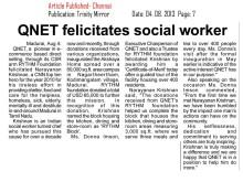QNET felicitates social worker