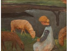 Paula Modersohn-Becker, Flicka med får vid tjärnen, ca 1903. Gouache på kartong monterad på plywood, 54 x 68 cm. Sammlung Böhm, Berlin. Deponerad vid Kulturstiftung Landkreis Osterholz.