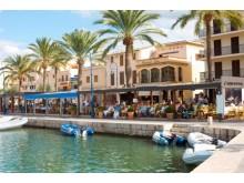 På caféerne i trendy Port de Andratx på Mallorca kan man nyde et glas kold hvidvin og nikke venskabeligt til alverdens stjerner, der har sommerbolig her.