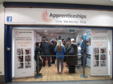 Helping young people into work: Apprenticeship figures were boosted by a pop up shop in Middleton in January