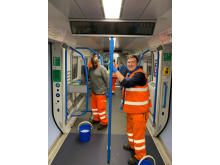 Cleaners applying the long-lasting viruscide to trains at Bedford 24 April