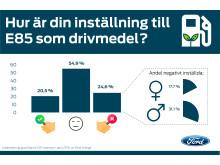 Ford har undersökt svenskarnas attityd till E85 som drivmedel