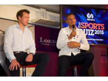 Double Olympic champion Steve Williams and Olympic bronze medallist Moe Sbihi, both SportsAid alumni, at SportsAid's Sports Quiz 2015 at Lord's Cricket Ground