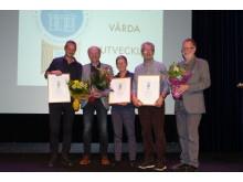Pristagarna i Årets byggnadsvårdare 2018. Från vänster Gunnar Almevik, Jens Böhn (Årås kvarn), Kerstin Johansson, Göran Nyman och Gösta Isaksson (Årås kvarn). Foto: Tomas Nyström
