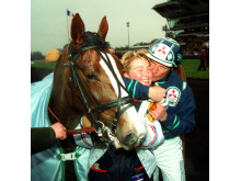 Glada miner efter vinsten i Prix d' Amerique 1993