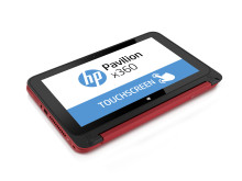 HP Pavilion x360 tablet mode Aerial right facing red