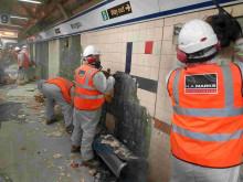 Tile stripping on Platform 9 at Moorgate