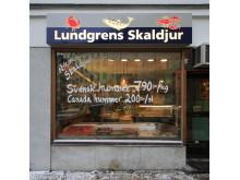 Ljusskylt Lundgrens skaldjur