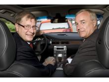 Volvo Cars' President and CEO Fredrik Arp and the Swedish Road Administration's Director General Ingemar Skogö signing declaration of intent, Ingemar Skogö behind the wheel.
