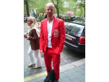 En röd kostym på MediaWeek 2008