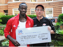 Triple jumper Stefan Amokwandoh, 18 from Selsdon, receives a £1,000 SportsAid award from Rayner Essex partner Tim Sansom