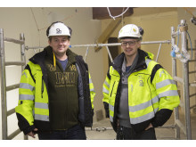 Peter Nitka och Max Jensen är arbetsledare respektive servicechef och tycker att projektet, som ska besiktigas 9 april, är annorlunda och kul.