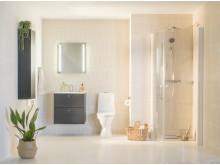 IDO Elegant -puolikorkea kaappi, -pesuallas ja -alakaappi, IDO Rimfree -wc-istuin, IDO Reflect -peili ja IDO Showerama