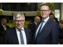 Danish Agros styrelseordförande Jörgen H. Mikkelsen med Danish Agros koncernchef Henning Haahr.