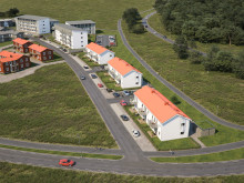 Översiktsbild. De nya husen i området BoKlok Teaken kommer att bestå av sju olika huskroppar: två fyravåningshus, ett trevåningshus och fyra tvåvåningshus.