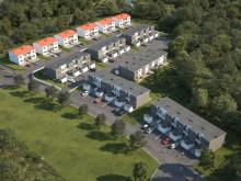 Översiktsillustration av det nya kvarteret med både parhus och radhus, BoKlok Myrvisslaren.