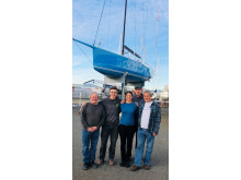 Hi-res image - Ocean Signal - James Betts Enterprises will build Lia Ditton's Antrim-designed ocean rowboat. From left: Jim Betts, Geoff Thilo, Lia Ditton, Will Porter and Jim Antrim