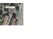 Placeing av grönt bullerskydd på Drottningholmsvägen, påfarten mot Essingeleden