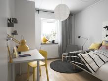 Illustration av interiör, sovrum nr. 2, BoKlok småhus 2019.