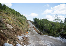 Arbeid emd adkomstvei til Harbaksfjellet vindpark