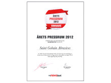 Saint-Gobain Abrasives vinnare av Årets Pressrum 2012 - Diplom