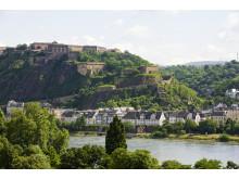 Die Festung Eherenbreitstein bei Koblenz am Rhein ist Schauplatz für das Weltmusikfestival Horizonte