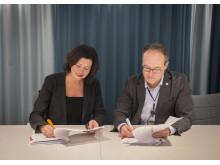 LFVs generaldirektör Ann Persson Grivas och Jonas Abrahamsson, VD och koncernchef på Swedavia.