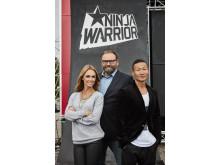 Karin Frick, Adam Alsing och Mårten Nylén leder Ninja Warrior Sverige. Foto: Magnus Ragnvid/Kanal 5