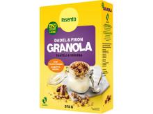 "Ekologisk granola ""Dadel & Fikon"", rek. pris: 42 kronor / 375 gram. Finns i butik."