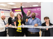 Macular Society regional manager Amanda Read (centre) with the Vision Express at Tesco Stourbridge store team.