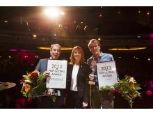 Vinnarna av TRIP Global Award 2013 med näringsminister Annie Lööf