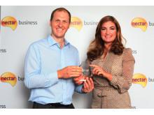 Nectar Business Tradesperson of the Year, James Lanwarne, and Nectar Business Small Business Awards judge, Karren Brady